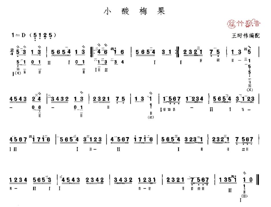 琵琶曲谱《小酸梅果》图片